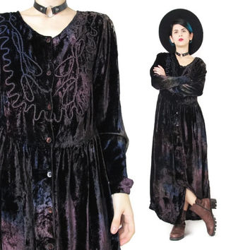 90s Crushed Velvet Maxi Dress Long Sleeve Velvet Dress 90s Grunge Velvet Dress Purple Plum Button Down Front Goth Witchy Embroidered (M)