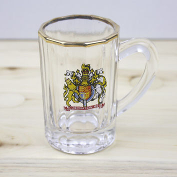 Glass Ornament, Royal Family, Glass Tankard, Small Decoration, Memorabilia, Glass Sculpture, Coronation Souvenir, Miniature Tankard - 1950's