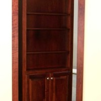 "Hidden Door Book Case Flush Mount 36"" Unfinished Knotty Alder"