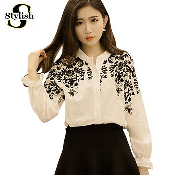 Embroidery Blouse Shirt Cotton Linen Women Blouses Camisas Femininas Korean Flower Embroidered Tops 2016 Fashion Female Clothing