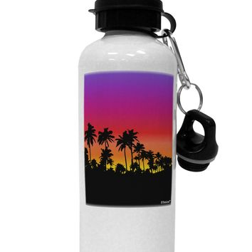 Palm Trees and Sunset Design Aluminum 600ml Water Bottle by TooLoud