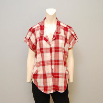 Vintage 1980's Red and White Plaid Short Sleeve Utility Blouse Button Down Shirt Women's Retro Top Size 16