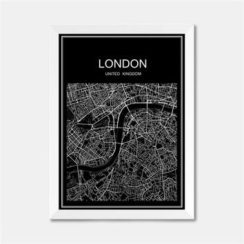 LONDON UK CITY World map poster abstract vintage paper print picture bar cafe pub living room bedroom house decor 42x30cm
