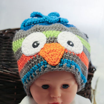 Crochet Hat - Children's Hat - Owl Hat - Grey Green Blue and Orange - 6 to 12 months - Winter Toboggan Hat