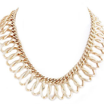 Oval Chain Collar Necklace