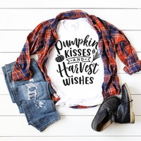 Pumpkin Kisses and Harvest Wishes T-Shirt, Autumn Apparel, Fall Clothing, Autumn T-Shirts