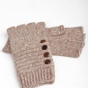 Lesa Fingerless Knit Gloves in Taupe