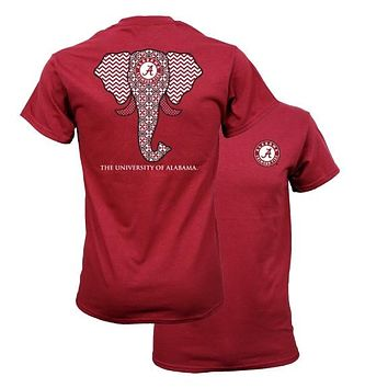 Southern Couture Alabama Crimson Tide Bama Tribal Elephant  T-Shirt