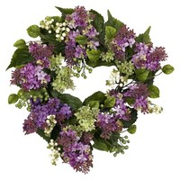 """Nearly Natural Lilac Wreath - Purple (20"""")"""
