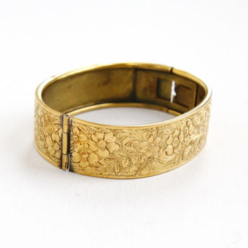 Antique Art Deco Brass Flower Bangle Bracelet - 1930s Floral Embossed Hinged Gold Filled Jewelry