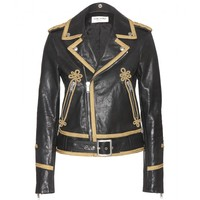 saint laurent - embellished leather jacket