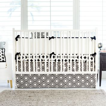 Black and White Swiss Cross Baby Bedding Set