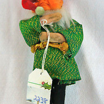 Pixie Elf Christmas Ornament Rare Gnome Shelf Sitter Green & Gold Sparkle