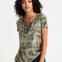 AEO Lace-Up Burnout T-Shirt, Olive