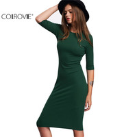 COLROVIE Work Summer Style Women Bodycon Dresses Sexy 2016 New Arrival Casual Green Crew Neck Half Sleeve Midi Dress