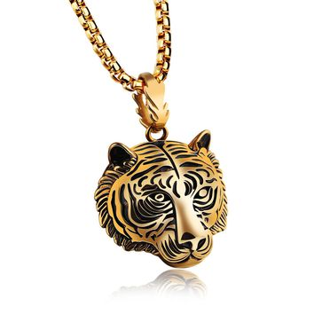 Men's Punk Gold Black Tiger Stainless Steel Long Necklace Hip Hop Accessory