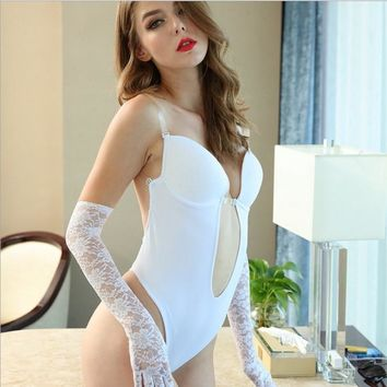 504d31b69ffc7 WOMEN CLEAR STRAP BACKLESS DEEP PLUNGE THONG BACKLESS PUSH UP pa