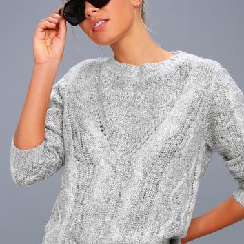 Irreplaceable Love Heather Grey Cable Knit Sweater