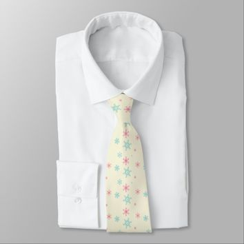 Pink And Blue Snowflake Pattern Christmas Wintery Neck Tie