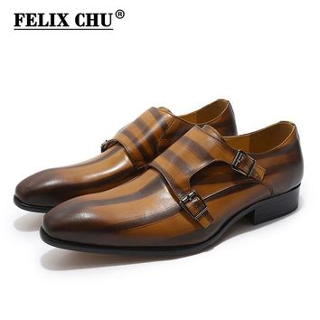 Genuine Leather Classic Oxford Dress Shoes Double Monk Strap Buckle