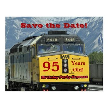 Save the Date 95th Birthday Party Train Postcard