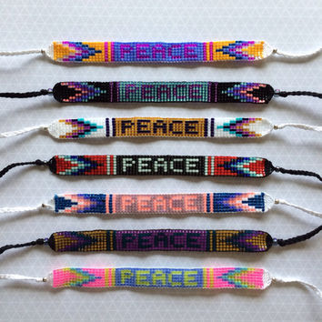 Peace Seed Bead Friendship Bracelets