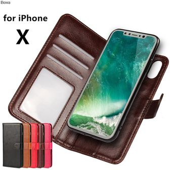 Premium Leather Cover Card Holder Holster Flip Case For Apple iPhone X Photo Frame Fashion Phone Shell (2 in 1)