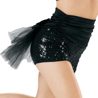 High Waisted Bustle Sequin Shorts - Balera