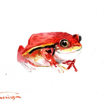Red Cute Frog, Original watercolor painting, 9 X 12 in, children art, kids wall art, red frog, cute animals