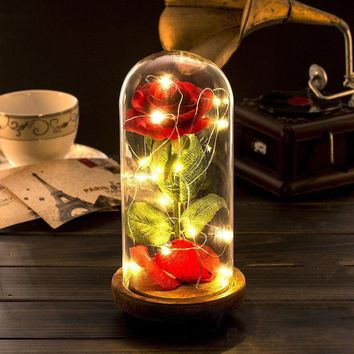 Beauty and the Beast Red Silk Rose LED Light with Fallen Petals in Glass Dome on a Wooden Base Enchanted Rose Romantic Gift