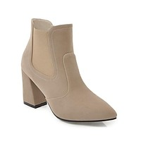 Pointed Tote Suede High Heel Ankle Boots 5880