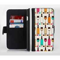 The Vectored Color Wine Glasses & Bottles Ink-Fuzed Leather Folding Wallet Credit-Card Case for the Apple iPhone 6/6s, 6/6s Plus, 5/5s and 5c