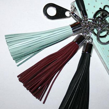 Natural Leather Tassel KeyRing, Choose Black or Purple Fringe Tassel Charm, Twin Tassel Bag Accessory Keychain Clasp, Etsy Gift to Friend