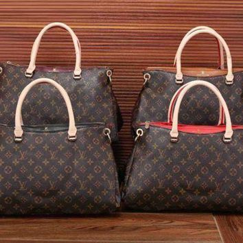NOV9O2 Louis Vuitton Women Leather Zipper Satchel Tote Travel Bag Handbag