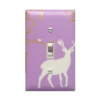 Woodland Deer Light Switchplate / Baby Girl Nursery Decor / Brambleberry Ridge Timber Valley Metallic Lilac / Lavender Purple Michael Miller
