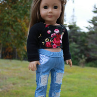 18 inch doll clothes, black floral crop top, blue ripped skinny jeans, american girl ,maplelea