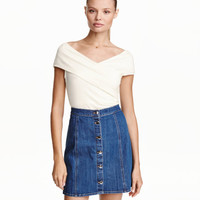 Denim A-line Skirt - from H&M