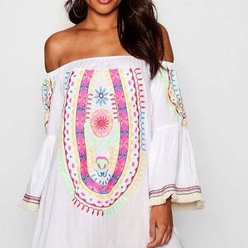 Emily Embroidered Tassel Trim Cover Up | Boohoo