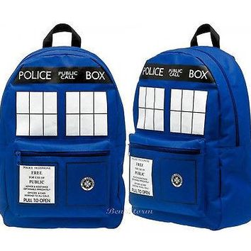 Licensed cool NEW Doctor Dr Who Tardis Police  Box Time Machine School Backpack Book Bag