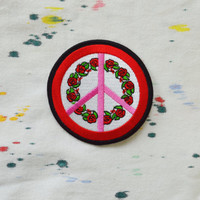 Peace Sign Patch Red Rose Embroidered Iron on Hippie Boho Soft Grunge Pink Peace Symbol Denim Jacket Backpack Leather Kawaii Grunge
