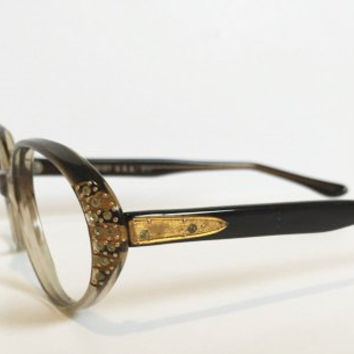 Vintage Oval Round Cateye Eyeglass Frames with Gold and Rhinestones, NOS, 1960s USA Optical Gold & Rhinestone Eyeglass Frames, New Old Stock