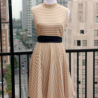 Vtg brown gingham sleeveless midi day dress zip back high neckline pleated skirt checked fit and flare