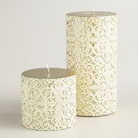 Gold and Ivory Gate Debossed Pillar Candles - World Market
