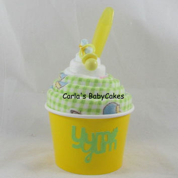 Receiving Blanket Cupcake, Baby Shower Gift, New Mom Gift, New Baby Gift , Baby Shower Decoration, Baby blanket sundae, Diaper Cupcake gift