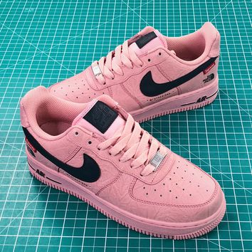Supreme X The North Face Tnf X Nike Air Force 1 Af1 Low Pink Black Shoes - Best Online Sale