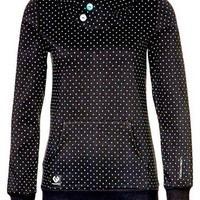 Black Buttoned Hood Long Sleeve Polka Dot Hoodie