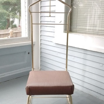 Gentlemans Chair, Valet Clothes Butler, Vintage, Mid Century Modern, Art Deco, Metal, Bedroom Furniture, Home Decor