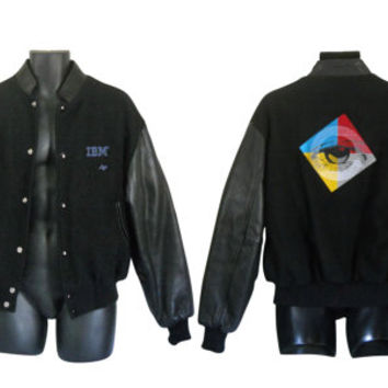 Men Bomber Jacket Vintage IBM Computers Black Varsity Jacket Wool Bomber Jacket Black Leather Jacket 90s Bomber Jacket Black Winter Jacket