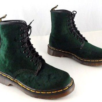 RARE VTG DR. DOC MARTENS CRUSHED VELVET BOOTS * UK 5 * US 7 - 7.5 * DARK GREEN
