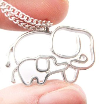 Simple Elephant Mother and Baby Animal Charm Outline Necklace in Silver from DOTOLY